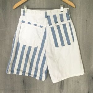 Vtg 90s Denim Striped  High Waist Mom Shorts 27